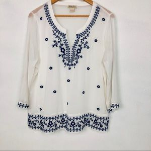 Lucky Brand Sheer White Embroidered Blouse